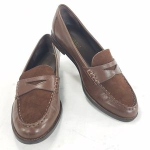 Ralph Lauren Womens Leather Slip On Penny Loafers